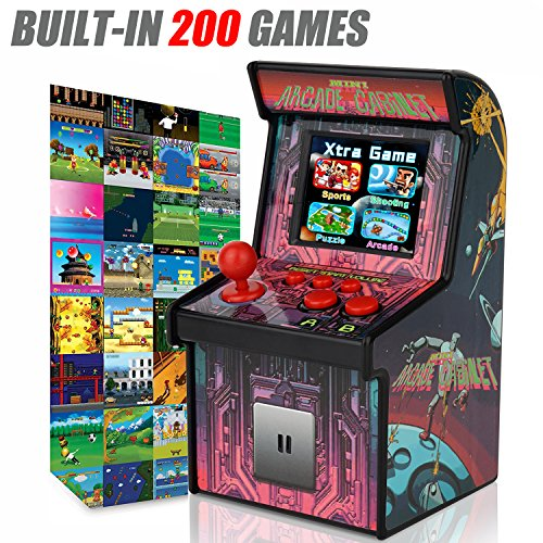 GBD Kids Mini Retro Arcade Game Cabinet Machine with 200 Handheld Video Games 2.5'' Display Joystick Buttons Game Player for Kids Boys Girls Birthday Electronic Novelty Toys