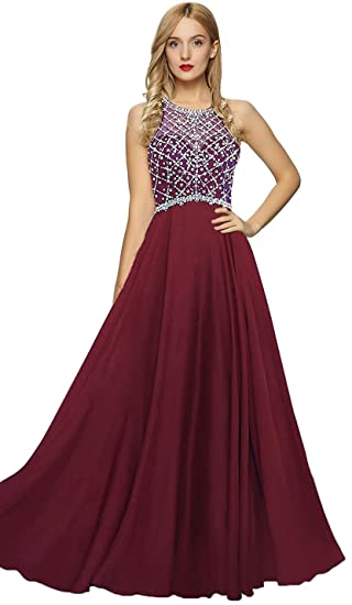 Amazoncom Meier Womens Illusion Back Beaded Halter Prom Dress