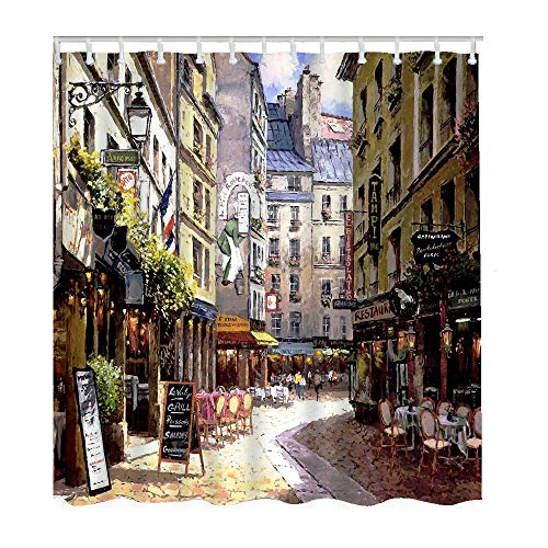 Moslion Paris Bathroom Shower Curtain Set Vintage Painting France Streer Cafe European Building French Shops Shower Curtains Home Decorative Waterproof Polyester Fabric Hooks 66x72 Inch (Curtain Shower Shop)