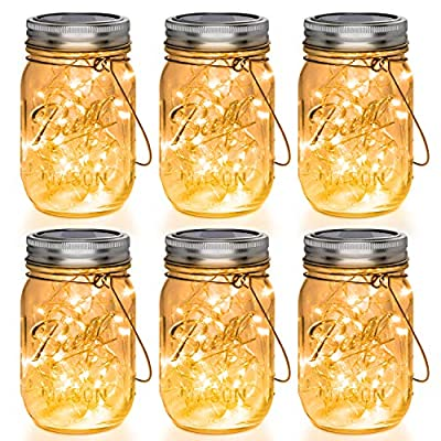 Mason Jar Lights 30 LED, 6 Pack Hanging Solar Lights Outdoors, Waterproof String Fairy Lights Solar Lanterns for Patio Garden, Yard and Lawn Decor(Jars Included)