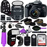 Canon T7i Rebel DSLR Camera with Canon 18-55mm IS STM Lens, Auxiliary Panoramic and Telephoto Lenses, 32GB Memory + Accessory Bundle