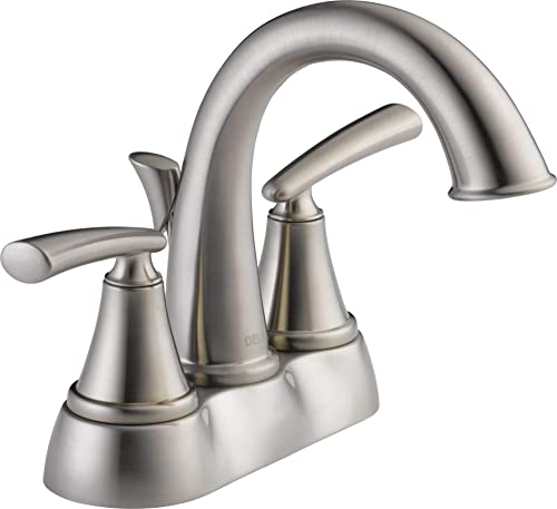 Kennett 4 in. Centerset 2-Handle Bathroom Faucet with Metal Drain Assembly in Stainless
