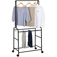 Clothing Garment Rack 2 Tiers Heavy Duty Pants Rolling Trolley Clothes Hanging Rod with Lockable Wheels and 12 Detachable Hangers for Display Storage