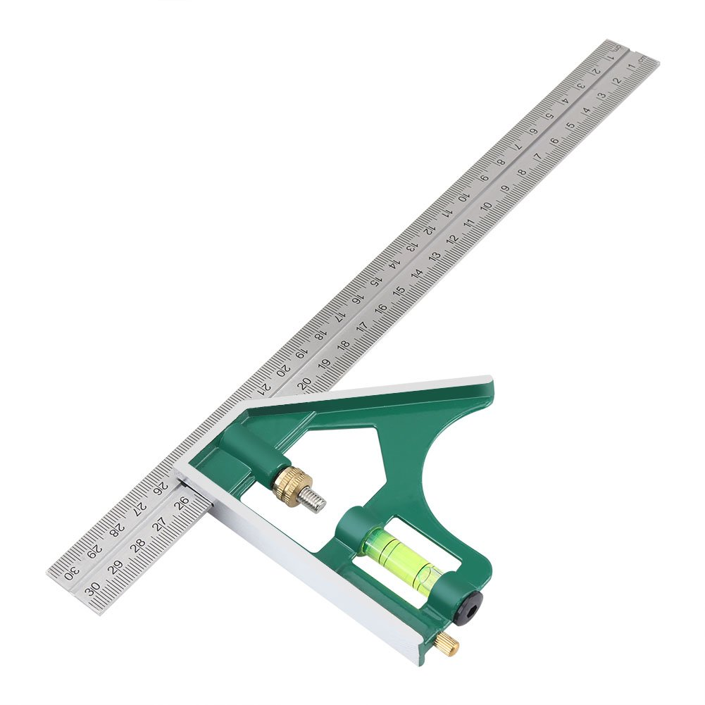 12-Inch Combination Square, Universal Adjustable Stainless Steel Multifunctional Combination Try Square Set Right Angle Ruler Measurement Tools