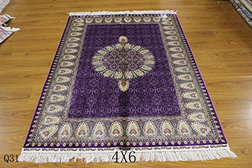 Yuchen New 4x6ft Turkish Islamic Purple Prayer Persian Handmade Vintage Silk Carpet by YUCHEN CARPET