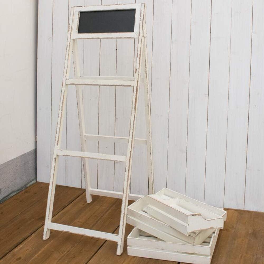 Jcnfa-Estante Caballete De Pizarra De Madera Blanca Vintage con Estantes De Exhibición De 3 Niveles, Rejilla De Escalera, Bandeja Extraíble (Color : White, Size : 17.32 * 19.68 * 47.24in): Amazon.es: Hogar