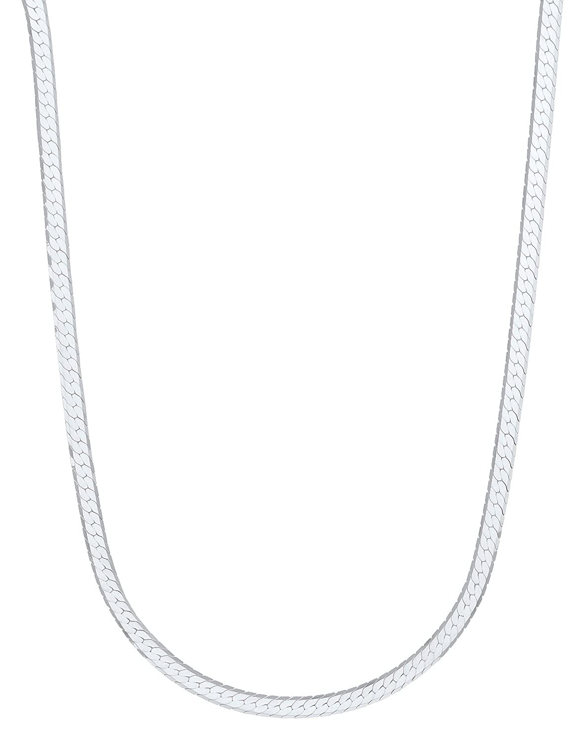 18202430 Made In Italy Jewelry Cloth 3mm 925 Sterling Silver Herringbone Chain Necklace