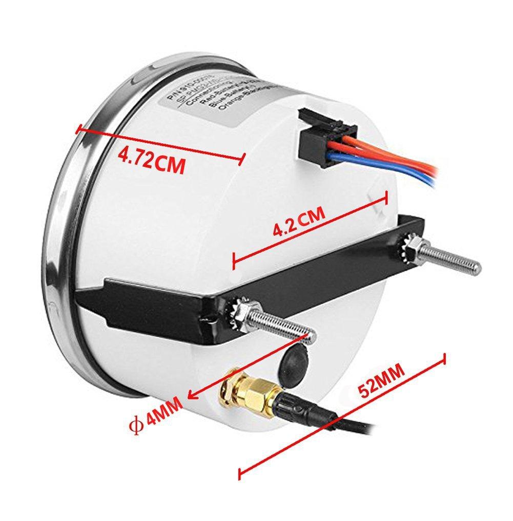 Samdo Waterproof Marine 52mm Digital Tachometer Car Truck Boat Tacho Gauge with Hourmeter 0-9990 RPM