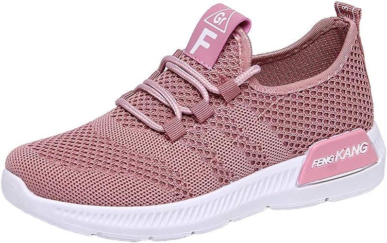 Damen Laufschuhe Turnschuhe Atmungsaktiv Sneakers Flache Schnürung Sportschuhe