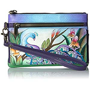 Anna By Anuschka Handpainted Leather Wristlet Organizer Wallet