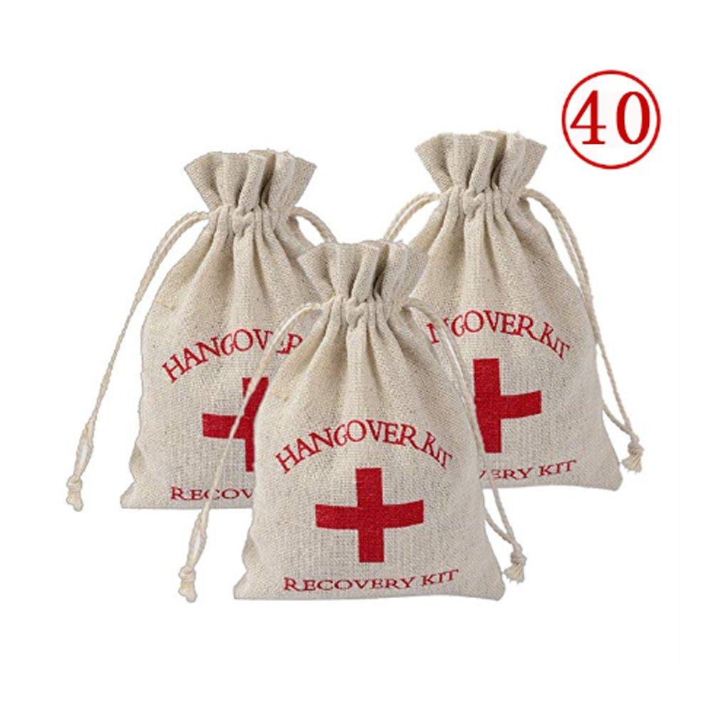 Lujuny 40 Pc Red Cross Hangover Kit Bags - Burlap Drawstring Bag for Bachelorette Wedding Party, 4.0 x 5.5''