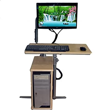 FEI Escritorio de la computadora móvil Oficina de Madera Ajustable en Altura con la Rueda para Lugares pequeños Oficina de la estación de Trabajo de PC ...