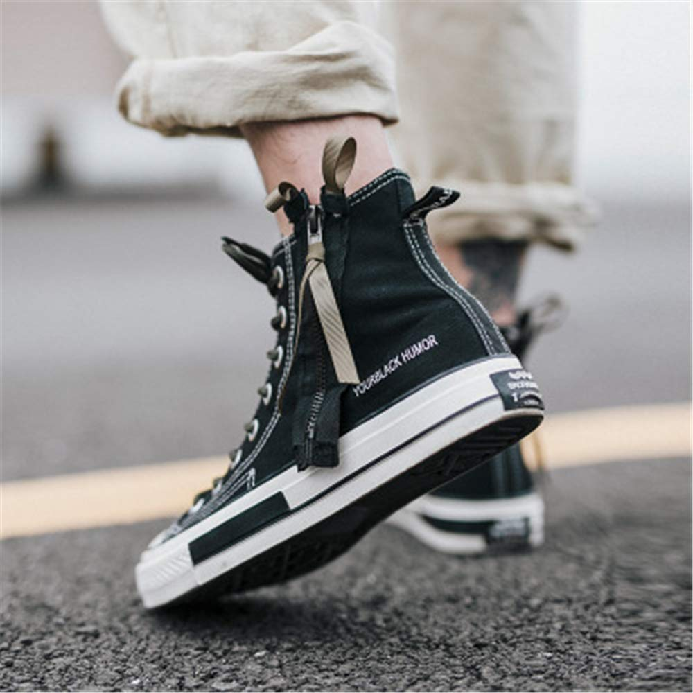 Mr/Ms Unparalleled beauty Unisex Casual High Top Canvas Flat Canvas Top Shoes Fashion Sneakers Zipper Great variety new Full range of specifications AB8763 c0768c