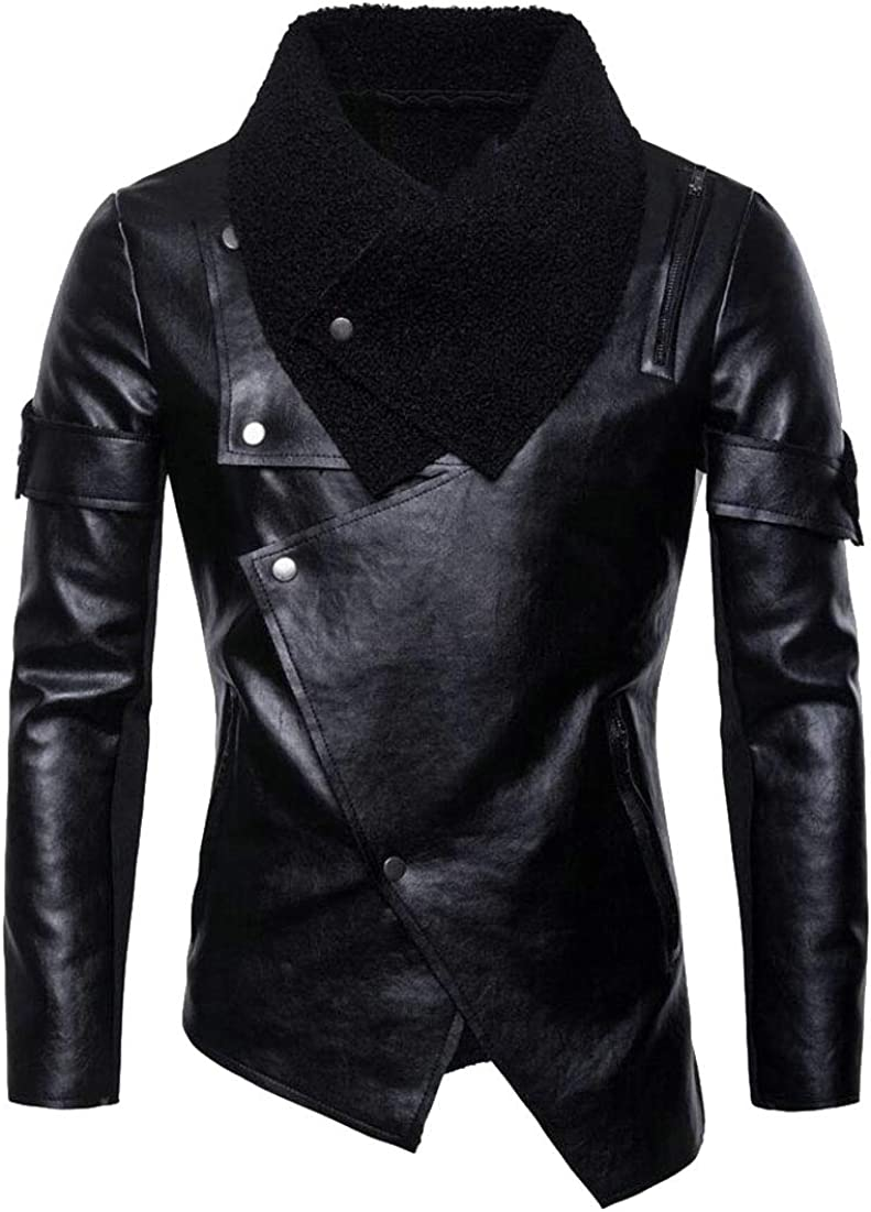 Mens Vintage Asymmetric Zip Lightweight Faux Leather Biker Jackets Coats