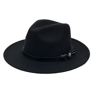9833c341dc6 Wool Panama Hats Men Solid Color Wide Brim with Belt Felt Cap Women ...