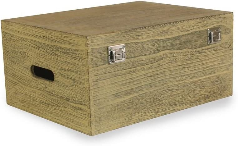 Red Hamper 40cm Oak Effect Wooden Box