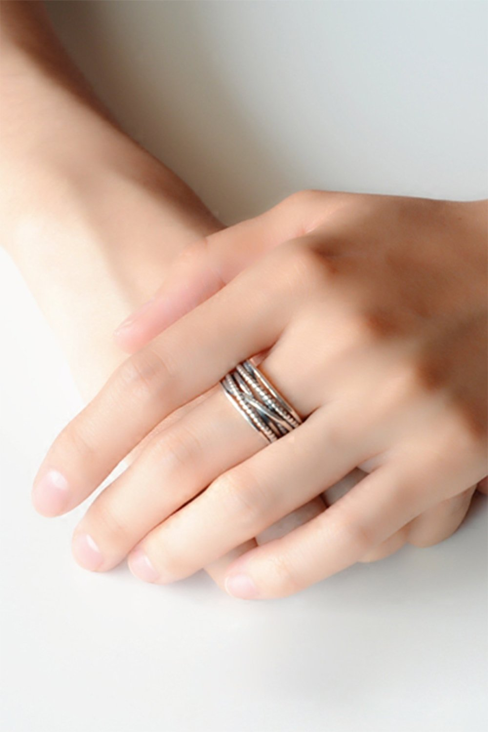 Generic [] S925 sterling silver Thai silver retro Sen Department personality woven double finger ring twist