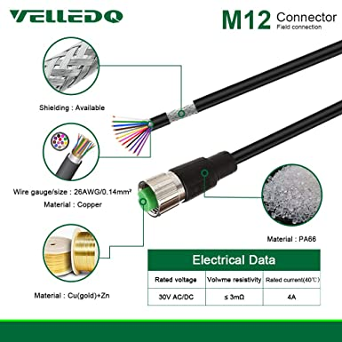 VELLEDQ Field-wireable M12 8-Pin A-Coding Sensor Connector to RJ45 E8 Plug Shielded Wire Cable 5M//15FT