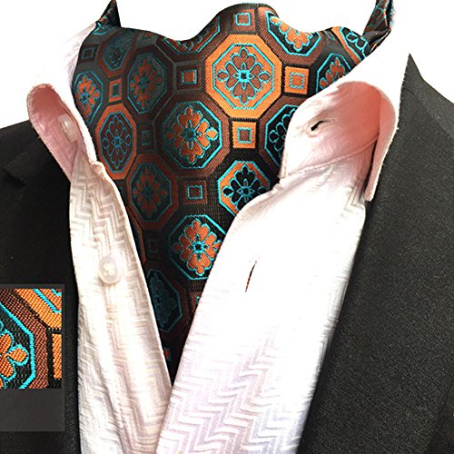 Patterned Floral Ascot Lja YCHENG Jacquard Paisley Jacquard Men's 04 Necktie Orange Scarf wY14R1q
