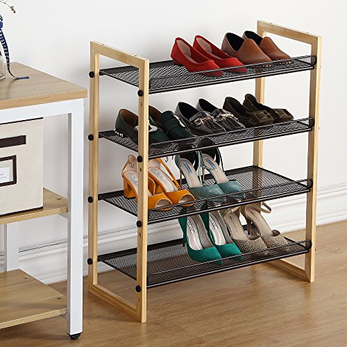 Wooden Shoes Organizer 4 Tier Shoes Rack with Brown Metal Shelves 4 Tier Step