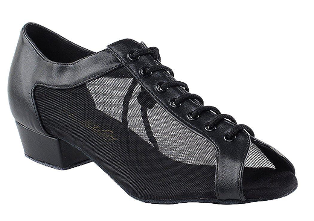 [DanceNwear] Very Fine靴Practice &キューバヒール社交靴# 1643ft B06XCYKK7X ブラックレザー 7.5 B(M) US