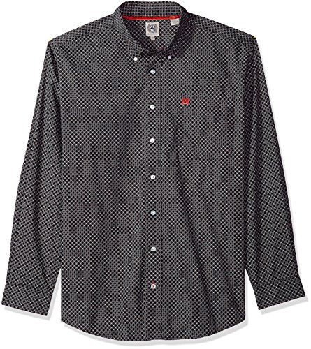 Cinch Men's Classic Fit Long Sleeve Button One Open Pocket Print Shirt, Black/Red, XXL (Cinch Mens)
