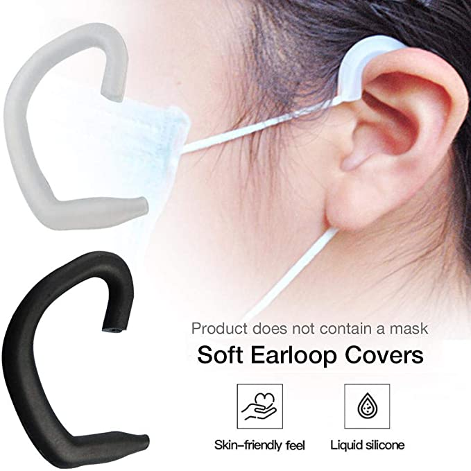 5 Pairs Non-Slip Reusable Silicone Ear Earloop Ear Protector Ear Hook for Kids /& Adults Black