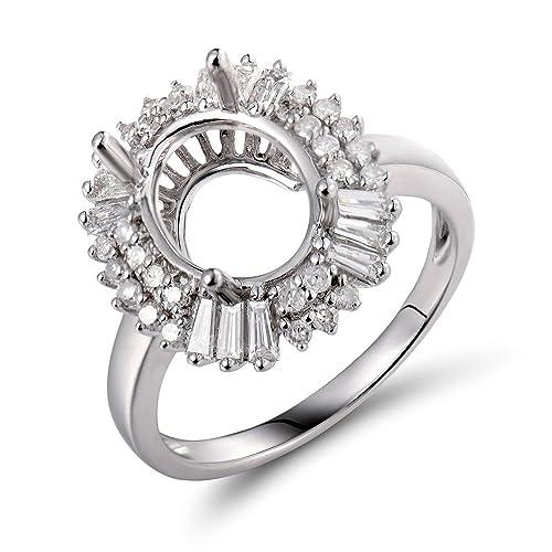Lanmi Jewelry - Juego de Anillos de Boda de Oro Blanco de 14 ...