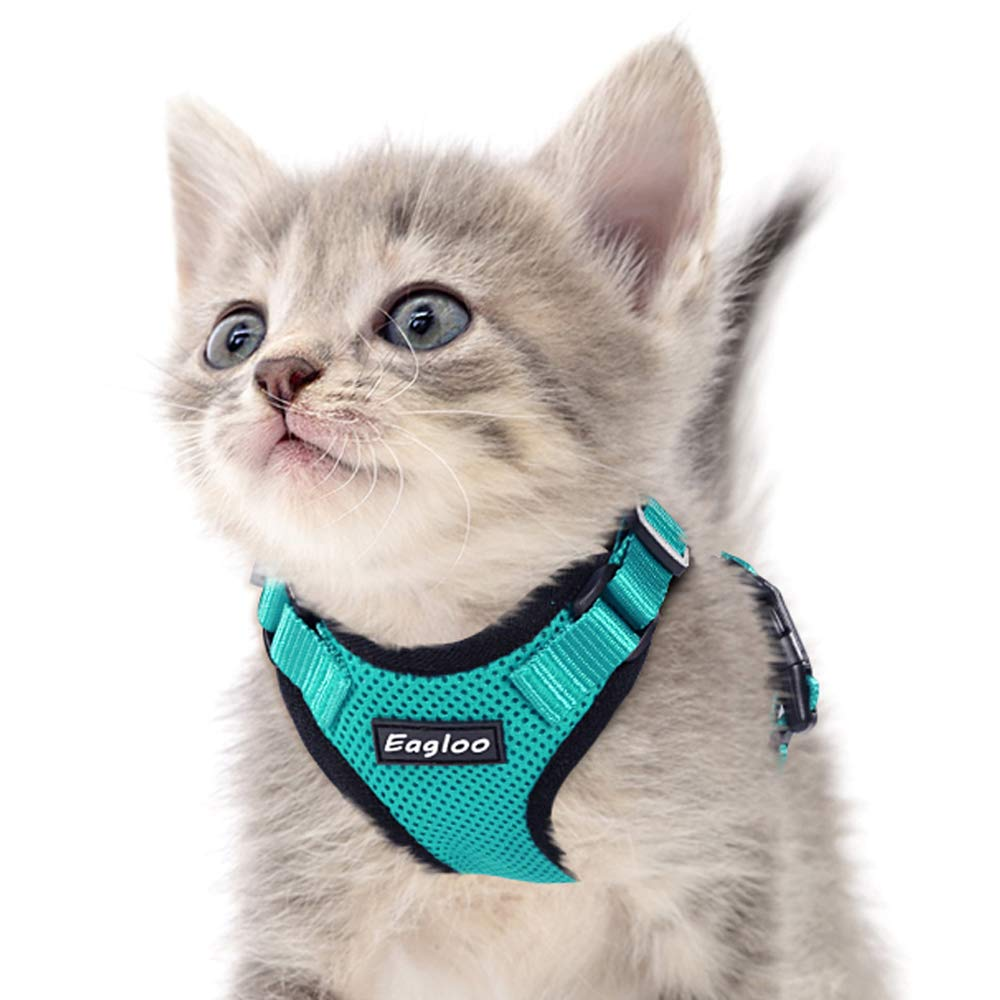 Eagloo Cat Harness Escape Proof Small Cat and Dog Harness Soft Mesh Harness Adjustable Cat Vest Harness with Reflective Strap Metal Clip Cat Walking Jacket Comfort Fit for Kitten Puppy Green X-Small