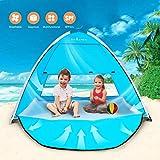 TIYASTUN Strandtält pop up UV med dragkedja dörr hopvikt på sekunder, strandskugga tält tak för 1-3 personer, UV-skydd…