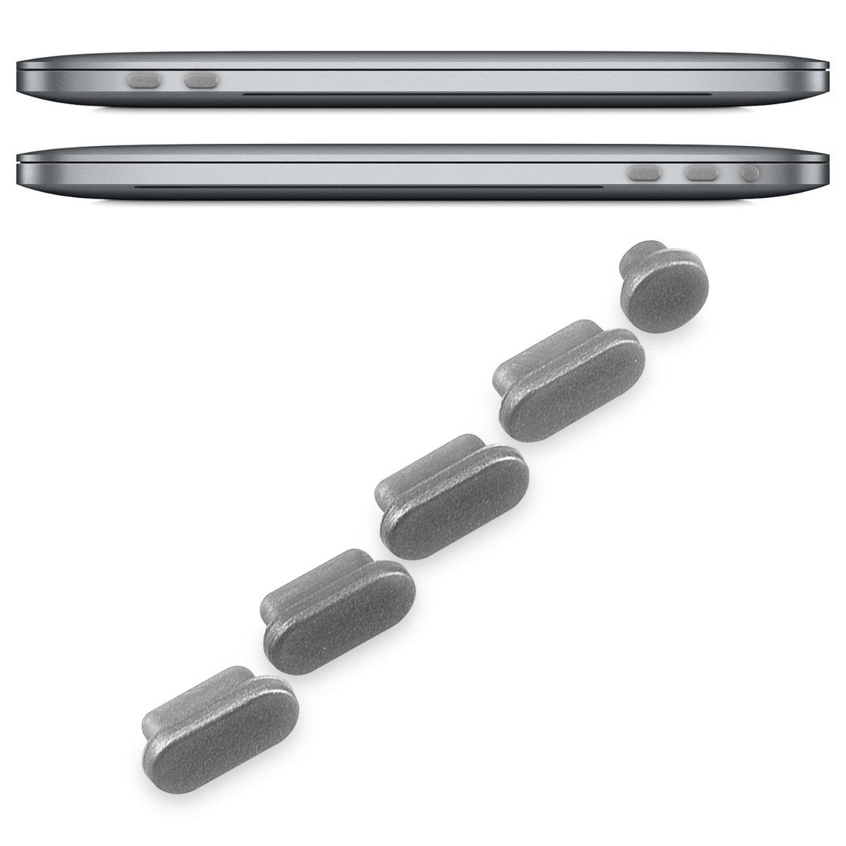 15 St/öpsel Stecker Dust Plug Staubstecker in Schwarz kwmobile 5x Staubschutz Set f/ür Apple MacBook Pro 13 ab 2016