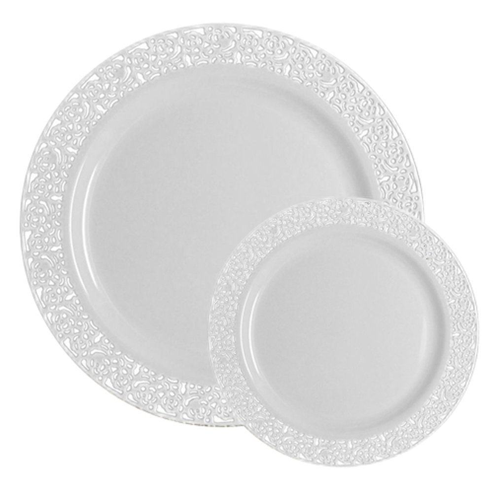 TTG 50-Piece Plastic Dinnerware Set | Lace Collection | (25) Dinner Plates & (25) Salad Plates | Heavy Duty Premium Plastic Plates for Wedding, Parties, Camping & More (White) Table To Go 712166770405