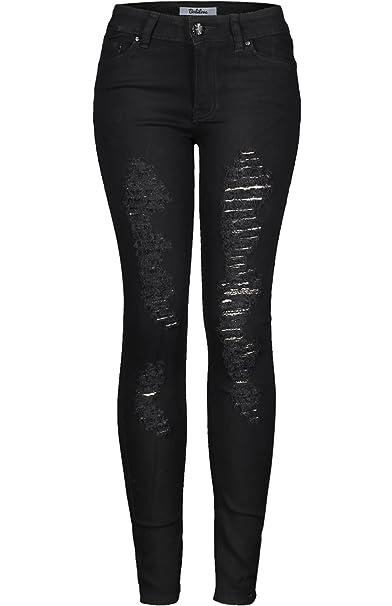 Amazon.com: 2LUV Pantalones de jean oscuro, ajustados, con ...