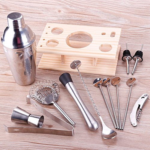 Hulorry 14 Piece 750ml Stainless Steel Cocktail Shaker Kit Cocktail Shaker,Counting Cup,Hippocampal Knife,Strainer,Muddler,Ice Clip,Mixing Spoon,2 Pourers,4 Bar Spoon,Wooden Frame by -