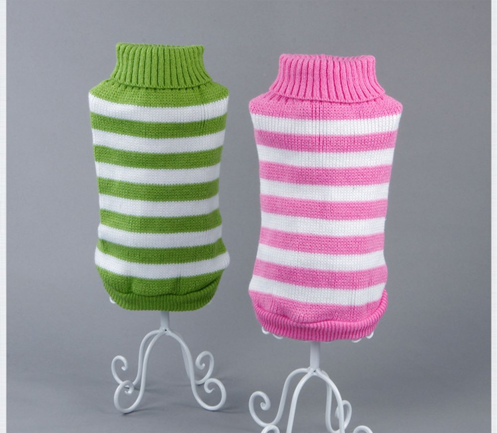 Evursua Striped Cat Sweaters Kitty Sweater for Cats Knitwear,Small Dogs Kitten Clothes Male and Female,High Stretch,Soft,Warm (Green, S)