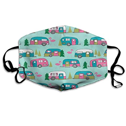 48be79d0c5d Anti-Dust Anime Cotton Mask LARGE Vintage Camper Mint And Pink Vintage  Campervan Fabric Cute
