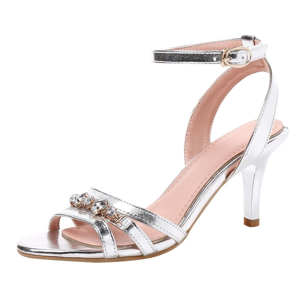 Mee Shoes Damen High Heels Strass Ankle Strap Sandalen  42 EU|Silber