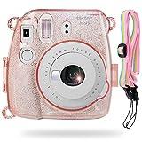 Katia Camera Case Bag for Fujifilm Instax Mini 9 Instant Camera , also for Fujifilm Instax Mini 8 Instant Film Camera with Strap - Glitter Pink