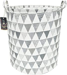 HKEC 19.7'' Waterproof Foldable Storage Bin, Dirty Clothes Laundry Basket, Canvas Organizer Basket for Laundry Hamper, Toy Bins, Gift Baskets, Bedroom, Clothes, Baby Hamper(Gray Triangle)