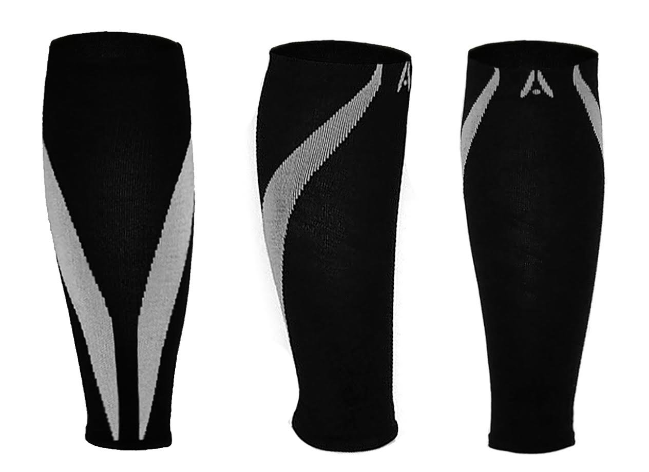 Calf Compression Sleeves | One Pair | Attain Fitness Graduated Compression Sleeves for Shin Splints & Performance. Spiral Compression for Improved Recovery and Blood Flow (Medium, Steel)