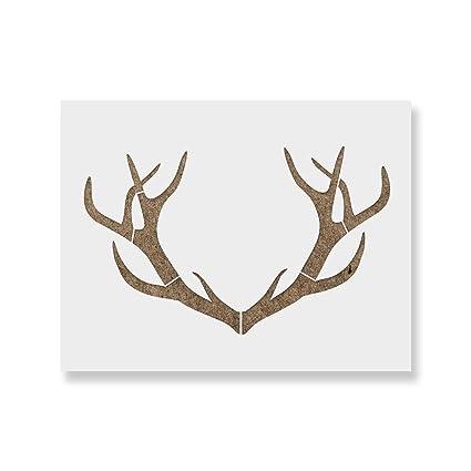 amazon com deer antler stencil template reusable stencil of deer