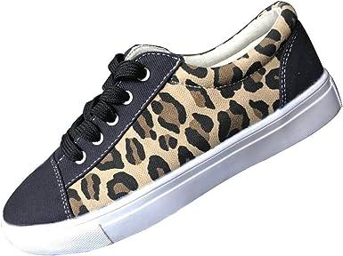 DressLksnf Zapatillas Mujer Lona Punta Redonda Zapatillas de Casual Leopardo Tobillo Planas Zapatos Ligeros Antideslizante Zapatillas Canvas de Lona Al Aire Libre Atar la Cuerda Zapatos: Amazon.es: Ropa y accesorios