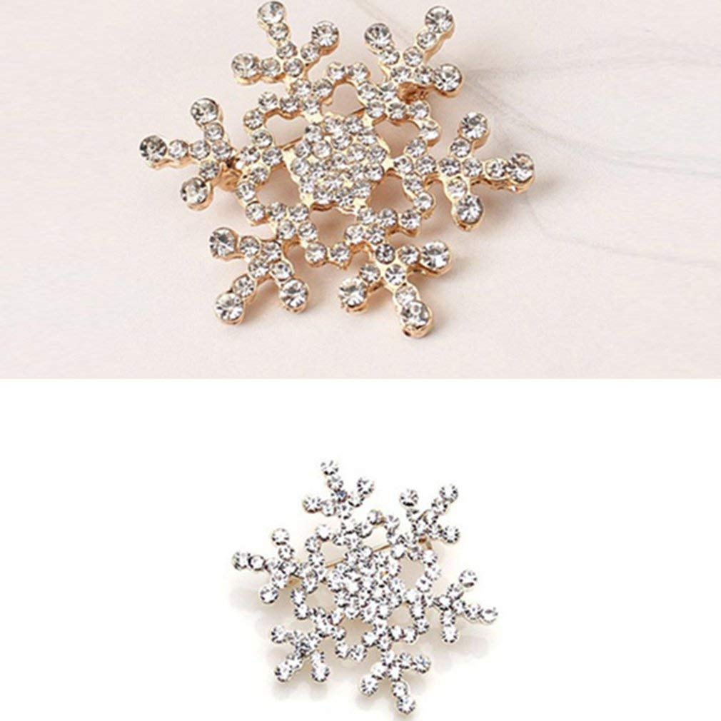 Winter Jewelry Ornaments Christmas Snowflake Brooch Pin Clear Rhinestones