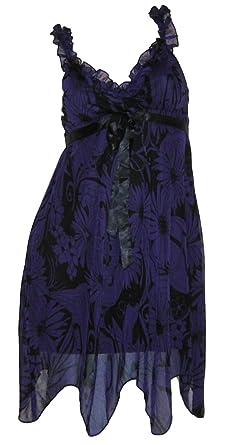 62d61276b85 Melrose Party Kleid Cocktailkleid Babydollkleid lila schwarz  Amazon ...