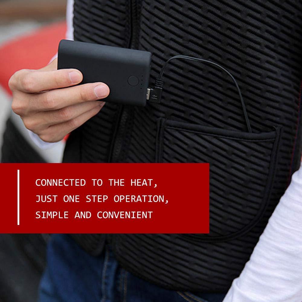 2019 Nouveau Recharge USB Veste chauffante Gilet Chaud chauff/é en Hiver Lavable Gilet Chauffant /électrique V/êtements chauff/és avec Trois Vitesses de Chauffage Womdee /Électrique Gilet Chauffant