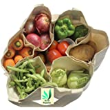 BSD Organics Cotton Eco Vegetable Bag with Pockets for Vegetables, Provision and More(White, Medium)