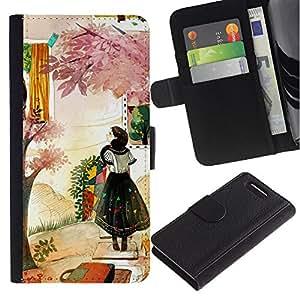 Planetar® Modelo colorido cuero carpeta tirón caso cubierta piel Holster Funda protección Para Sony Xperia Z3 Compact /D5803 / D5833 ( Woman Fashion Abstract Painting )