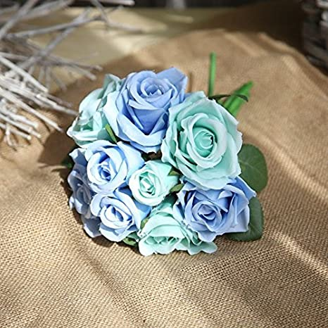Buy Pinkdose Peacock Blue Silk Rose Fake Flowers For Wedding
