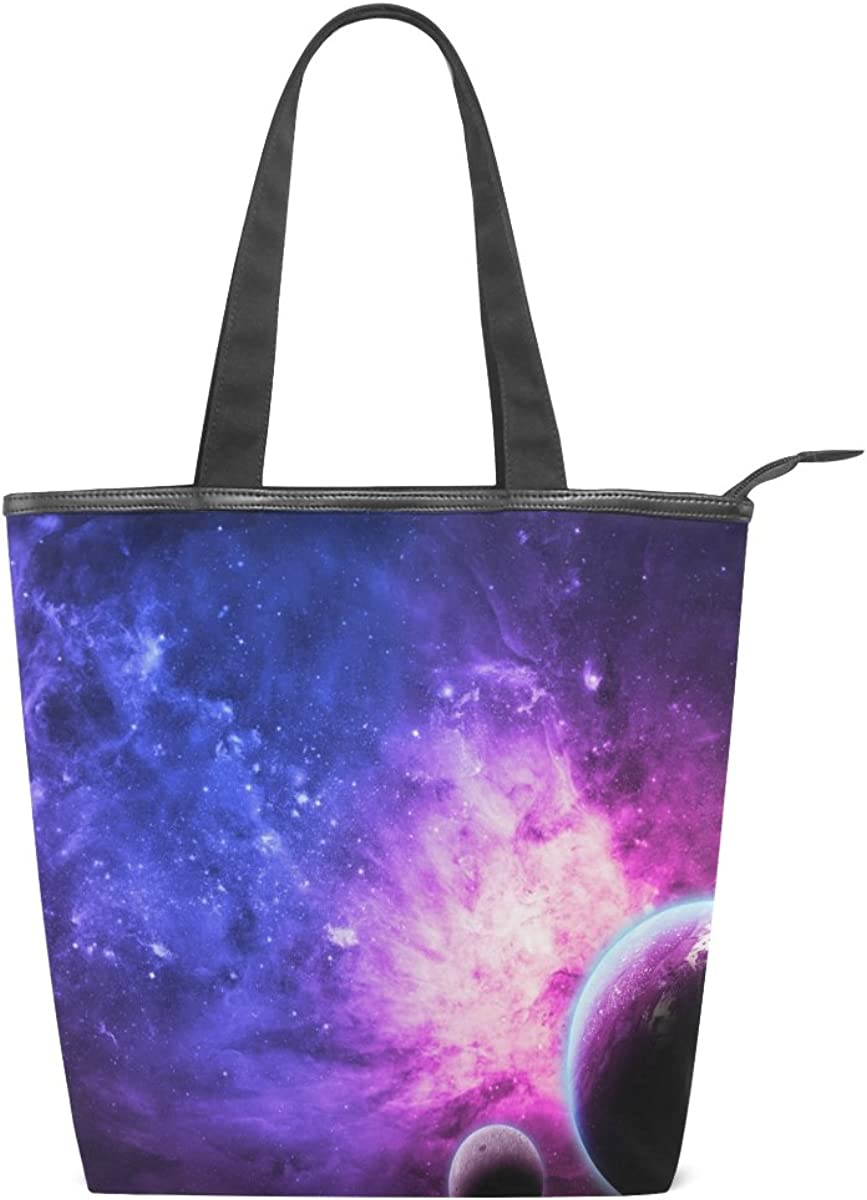 My Daily Women Tote Shoulder Bag Blue Galaxy Star And Nebula Universe Handbag Large