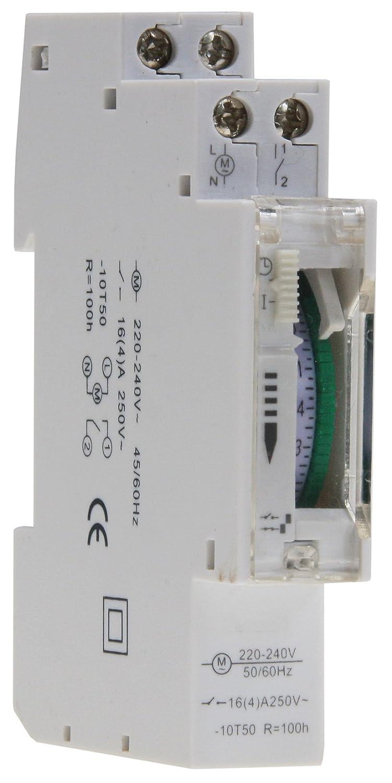 Temporizador diario analógico para montaje en panel, en pasos de 24 horas 15 min, 230 V, max. 3500 W. Segmento empotrable con caja de distribución: ...